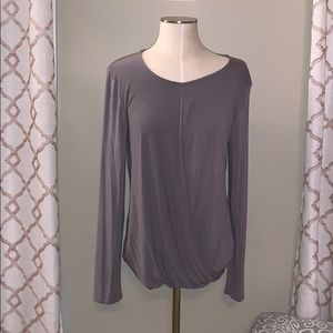Cupio Grey Long Sleeve Criss Cross Blouse